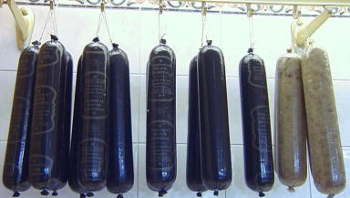 Original and tasty: Stornoway black puddings hanging up for customers