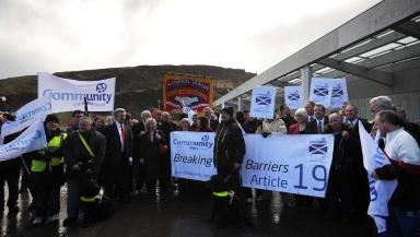 Protests: The Blindcraft workers gathered outside Holyrood as they try to save the factory from closure.