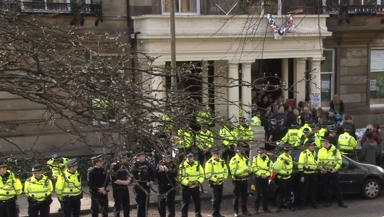 Hetherington club protest: The scene on Tuesday as students were evicted.