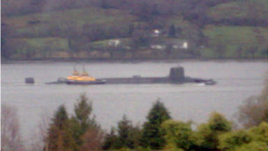 HMS Vengeance: Returning to Faslane in the Clyde.