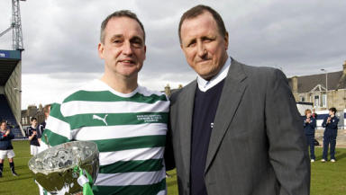 Football star: Paul McStay (left) pictured with Ronnie Coyle a few weeks ago at the benefit match.