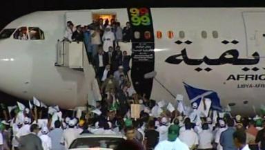 Released: Al-Megrahi arrives in Libya.