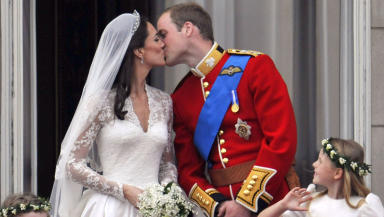 Wedding: Kate arrives at Westminster Abbey.