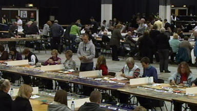 Clean sweep: Votes are counted in Aberdeen.