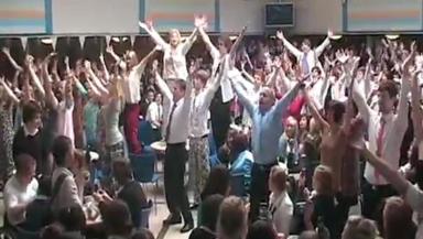 School flash mob dance routine