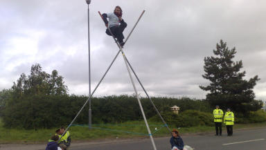 Protest: The activists have erected a tripod at one of the entrances and chained themselves to it.
