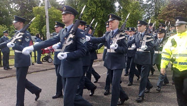 Set for closure: RAF Kinloss parade through Forres earlier this week.