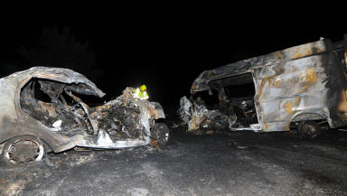 Crash death: The scene of the wreckage on the A9