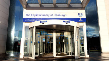 Hospital: The man was taken to Edinburgh Royal Infirmary by helicopter.
