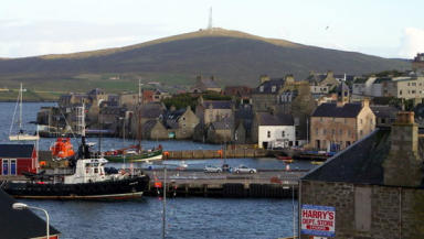 Lerwick Harbour: Man rescued after falling into water (file pic).