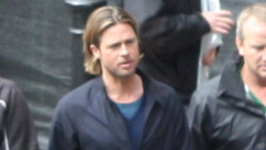 Brad Pitt: Hollywood star on set in Glasgow.