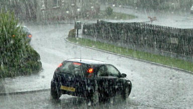 Rain: Heavy winds and rain hit the east coast on Monday afternoon.