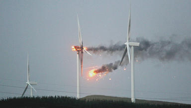 Fire: The turbine burst into flames during the storm on Thursday.