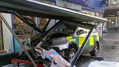 Crash: The paramedic response unit crashed into the bus shelter in Paisley.