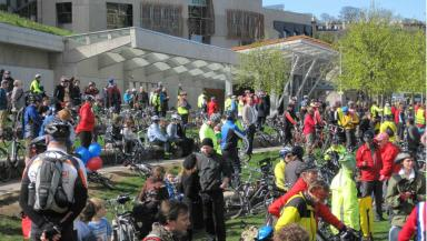 Pedal Power event: cyclists demonstrate at the Scottish Parliament over road safety