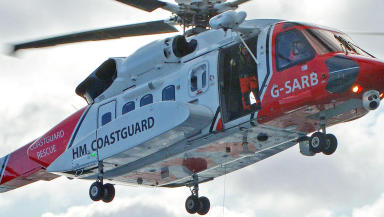 Rescue: Coastguard airlifted hillwalker to hospital.