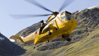 RAF Sea King search and rescue helicopter mountains