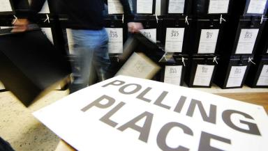 Ballot boxes in Edinburgh for the general election. Polling place.