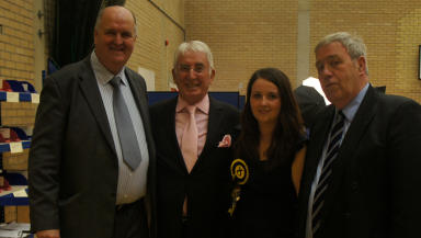 Girl power: Angela Crawley, 24, with fellow councillors Brian McCabe, Bobby Lawson and Joe Lowe in Hamilton South.