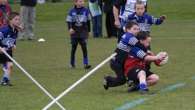 Tough test: Some of the youngsters involved in the action at the Dalziel festival.