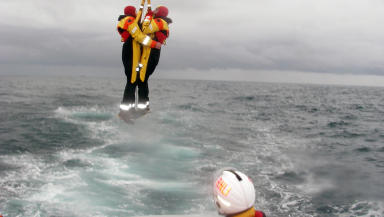 Helicopter winch rescue after Puma King ditching off coast of Aberdeen.