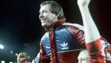 Alex Ferguson held aloft after Aberdeen win against Real Madrid