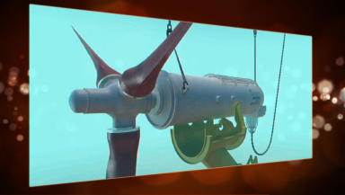 ST graphic of underwater power generator turbine.