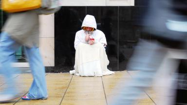 Quality generic shot of a homeless man begging, taken by Deadline in Edinburgh