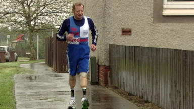 New legs: Ronnie McIntosh trains with his new 'sport' legs.