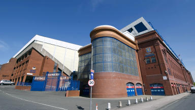 Quality gv (general view) of Ibrox stadium, home of Rangers, from corner of Edminston Drive.