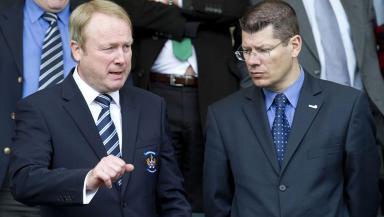 Kilmarnock Chairman Michael Johnston (left) with SPL Chief Executive Neil Doncaster