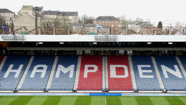 Quality shot of interior stand at Hampden Park in Glasgow.