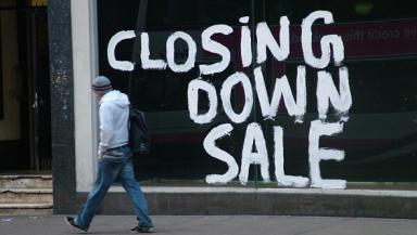 Closing down shop sign. Recession, economic crisis, job losses, insolvency.