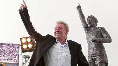 Denis Law at the unveiling of a statue in his honour at Aberdeen Sports Village on 20/7/12