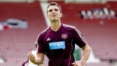 John Sutton of Hearts scored a penalty against Dunfermline in pre-season