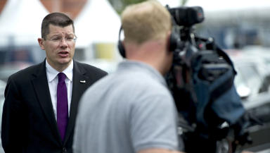 Neil Doncaster, SPL chief executive, interviewed for TV.