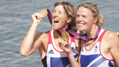 Katherin Grainger and Anna Watkins with their London Olympic gold for rowing.