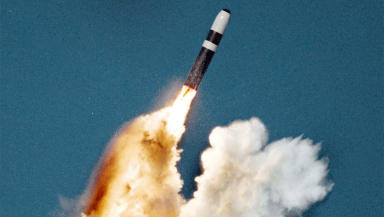 Trident nuclear missile launch from a submarine quality image