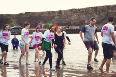 Nippy Dip: Volunteers take part in last year's event.