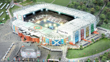 Artists impression of Celtic Park during Glasgow 2014 Commonwealth Games opening ceremony.
