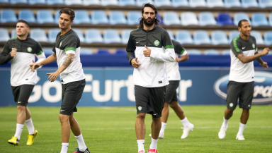 Celtic striker Georgios Samaras warms up for the game with Helsingborg.