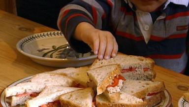 Child reaches for sandwich