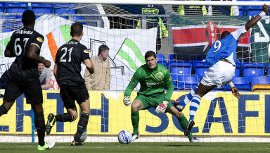 St Johnstone hitman Gregory Tade (right) slots home the equaliser.