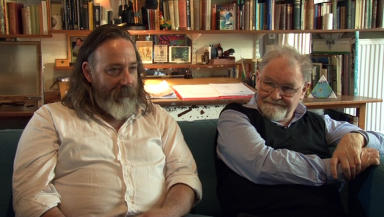 Artists: Nichol Wheatley (left) with Alasdair Gray.