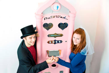 Marriage machine: parking meter of love gives couples cheap chance to say 'I do'.