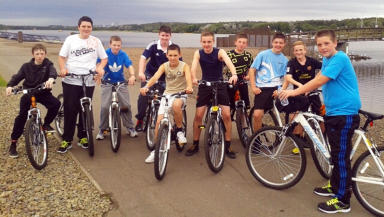 Taylor High: Third year students who cycled to raise money for St Andrew's Hospice were (from left) Aaron Quinn, Reece McCabe, Andrew Smith, Josh Dalyrmple, Damian Horyn, Ciaran Toal, Connor Anderson, Dylan Burns, Aidan Curran and Paul Dawson.