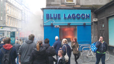 Blue Lagoon chip shop at Central Station on fire.