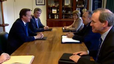 David Cameron and Alex Salmond meet on referendum deal. Independence.