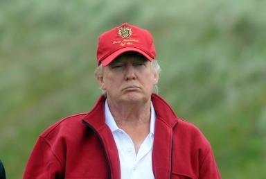Portrait of Donald Trump at the Menie Estate. Trump International Golf Links Scotland.