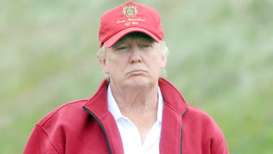 American businessman Donald Trump at the opening of his controversial golf course in Menie, Aberdeenshire.
